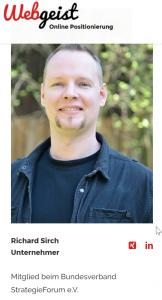 Richard Sirch Webgeist Unternehmer Internetagentur SEO