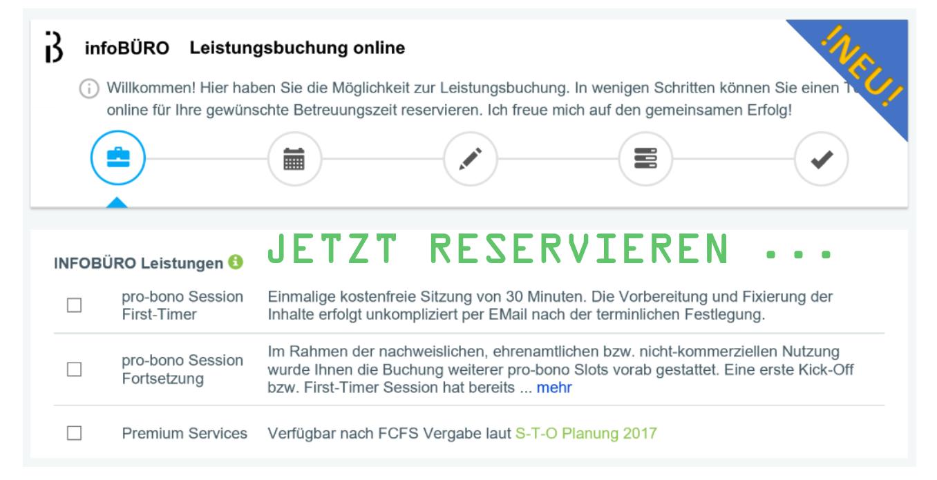 INFOBÜRO Leistungsbuchung online