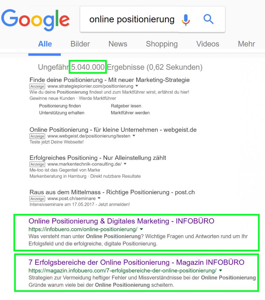 online positionierung google suche erster teil