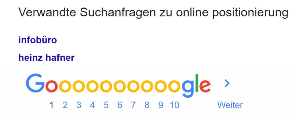 online positionierung google suche vorschlaege