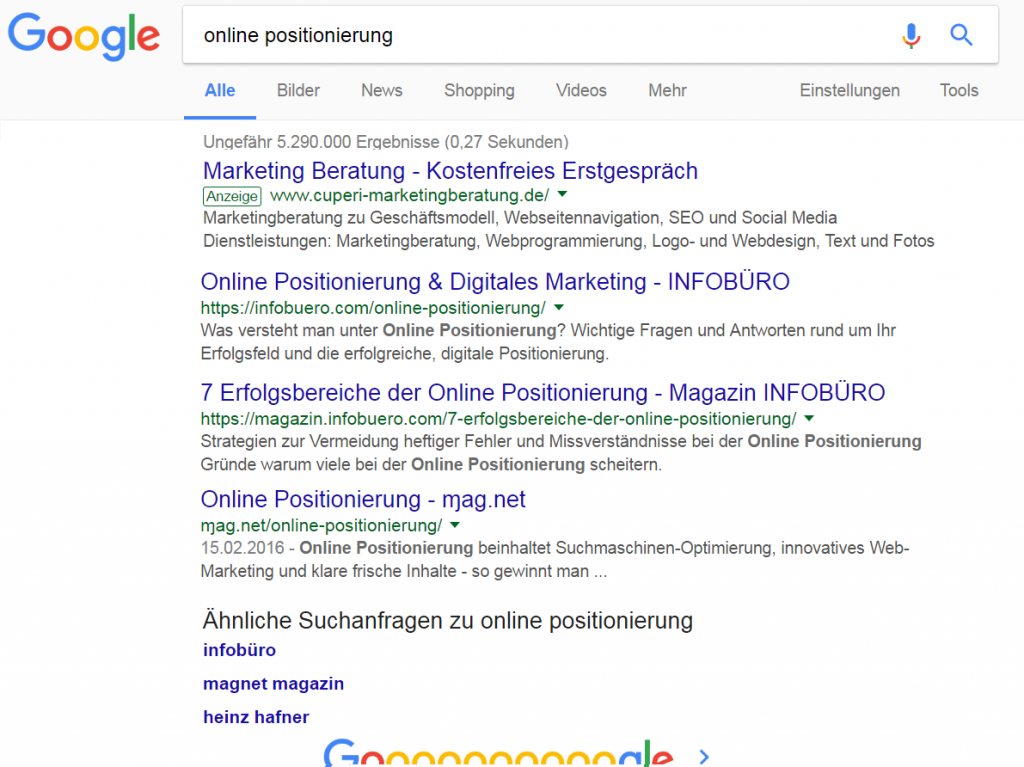 online positionierung infobüro hafner volltreffer auf googles erster seite und verwandte suchanfragen